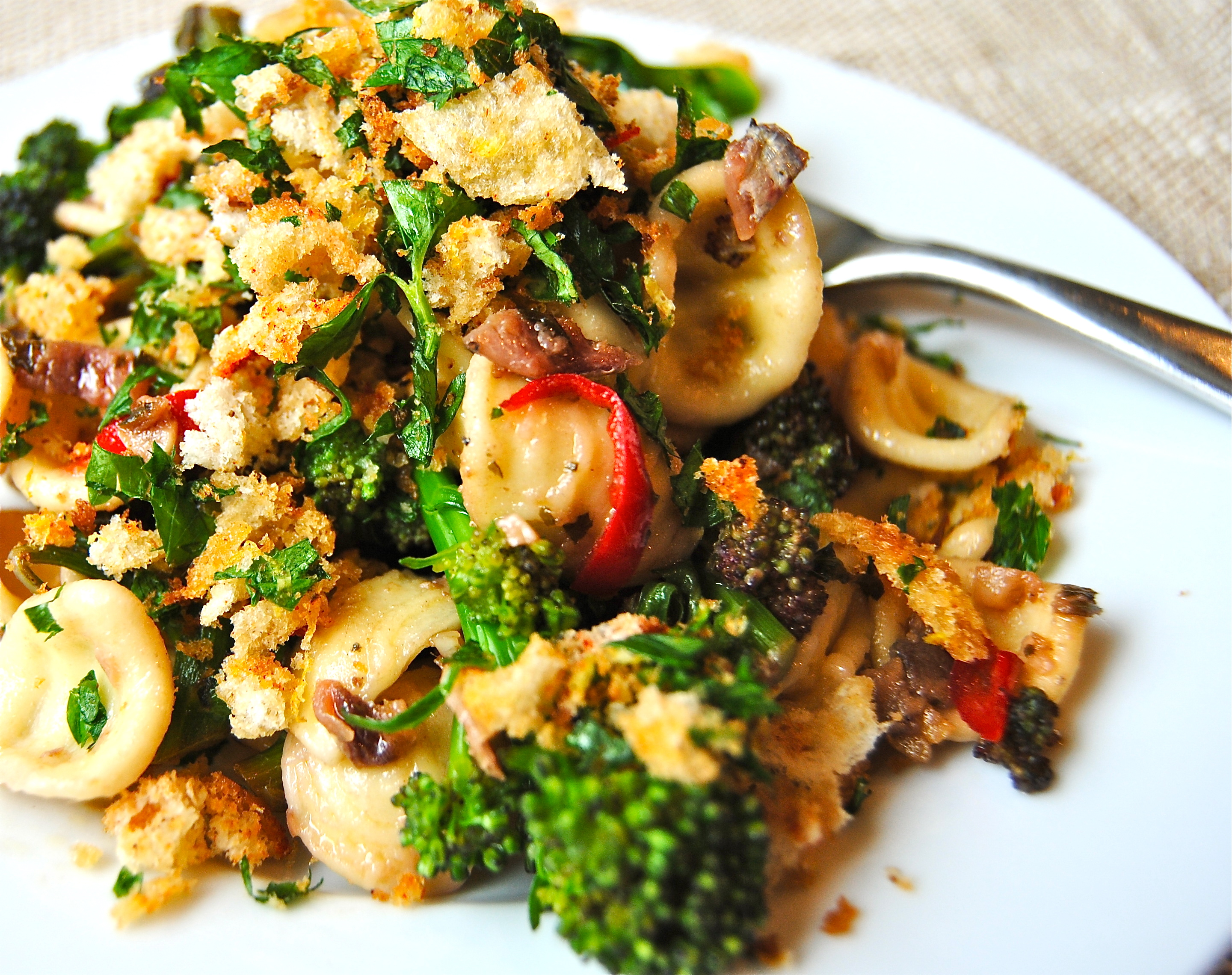 Orecchiette With Purple Sprouting Broccoli And Chili Lemon Pangritata Food To Glow