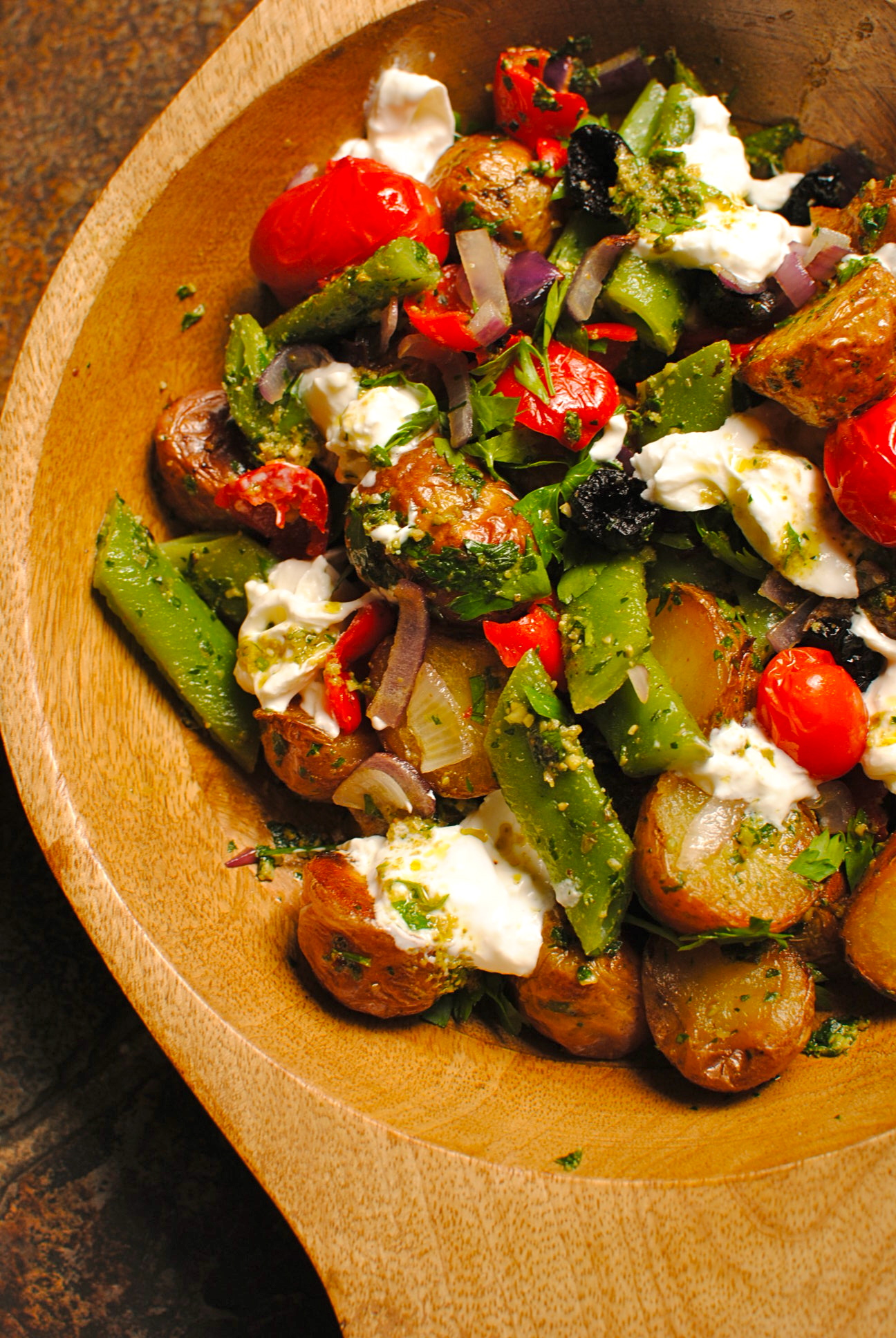 Roasted (Nearly) Nicoise Salad with Burrata and Parsley Pesto | food to glow