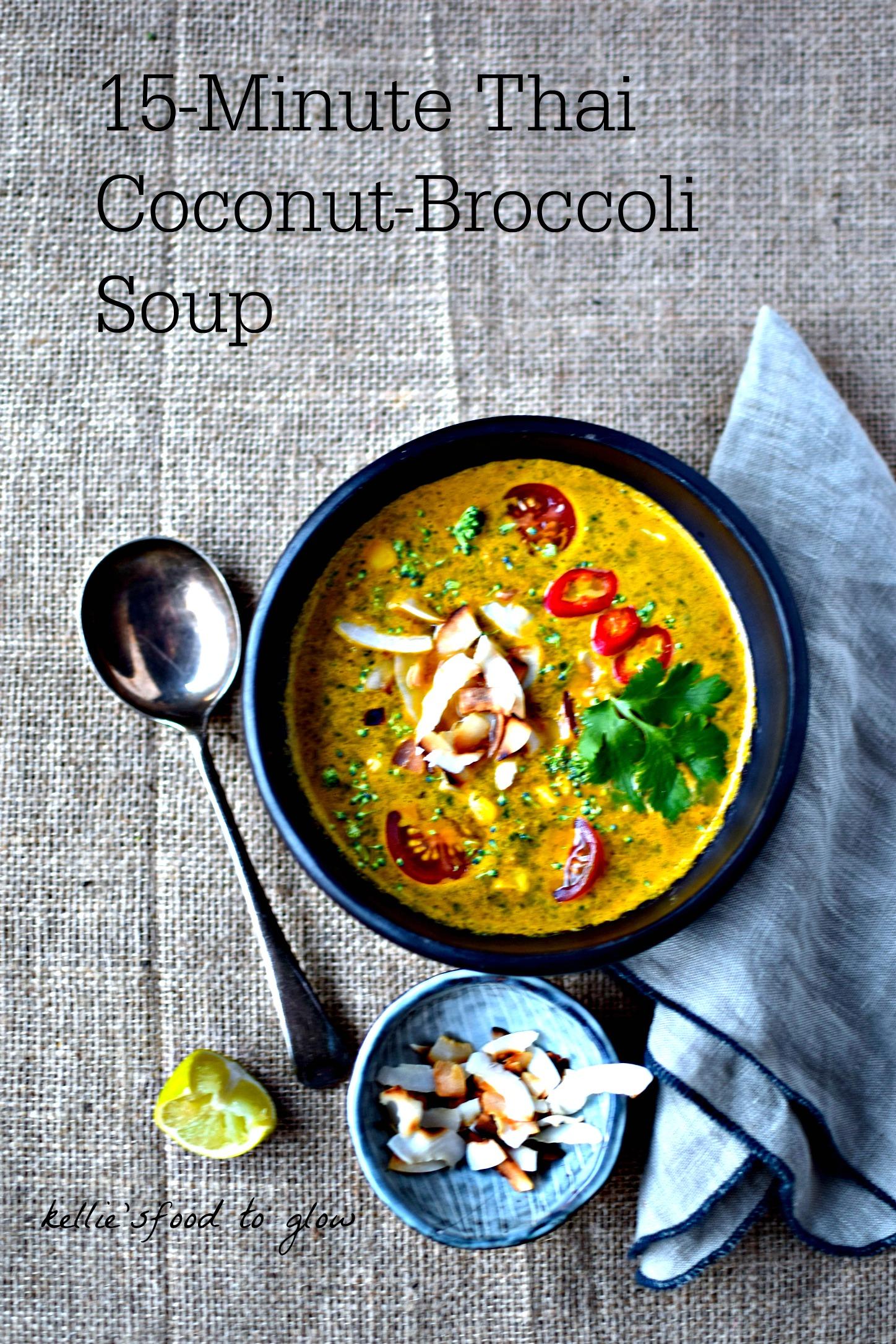 15 Minute Thai Coconut Broccoli Soup Recipe