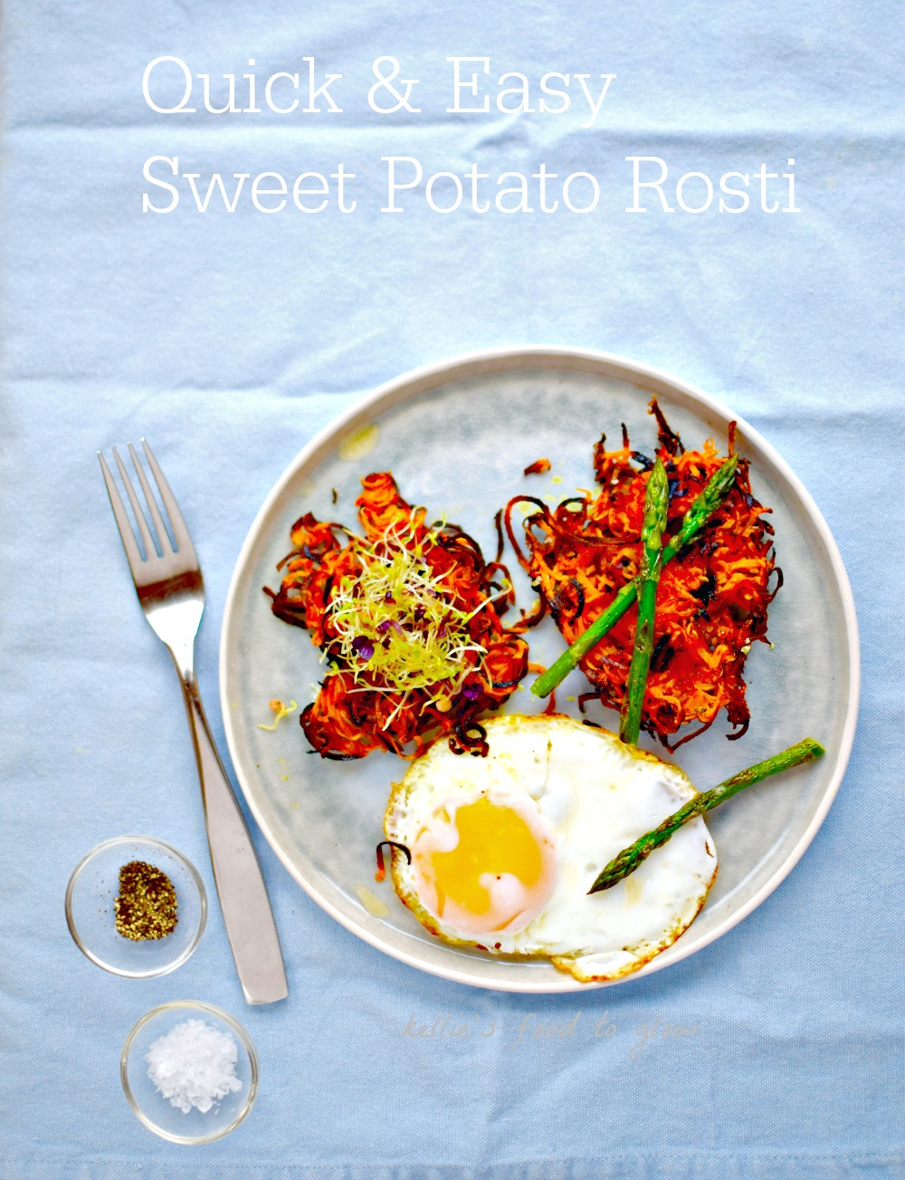 Make soft yet crispy sweet potato rosti in your waffle maker! This makes a great base for veggies (also cooked in the waffle makers) and eggs for a fun breakfast, brunch or light supper. Just add hot sauce!