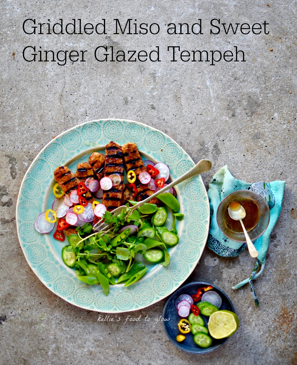 Tempeh - fermented whole soy cakes - are extremely nutritious but not well-known in the West. This easy recipe makes this healthy, vegan protein much more accessible with a delicious miso and ginger glaze. Griddle or pan-fry and enjoy with the spicy lime-dressed salad.