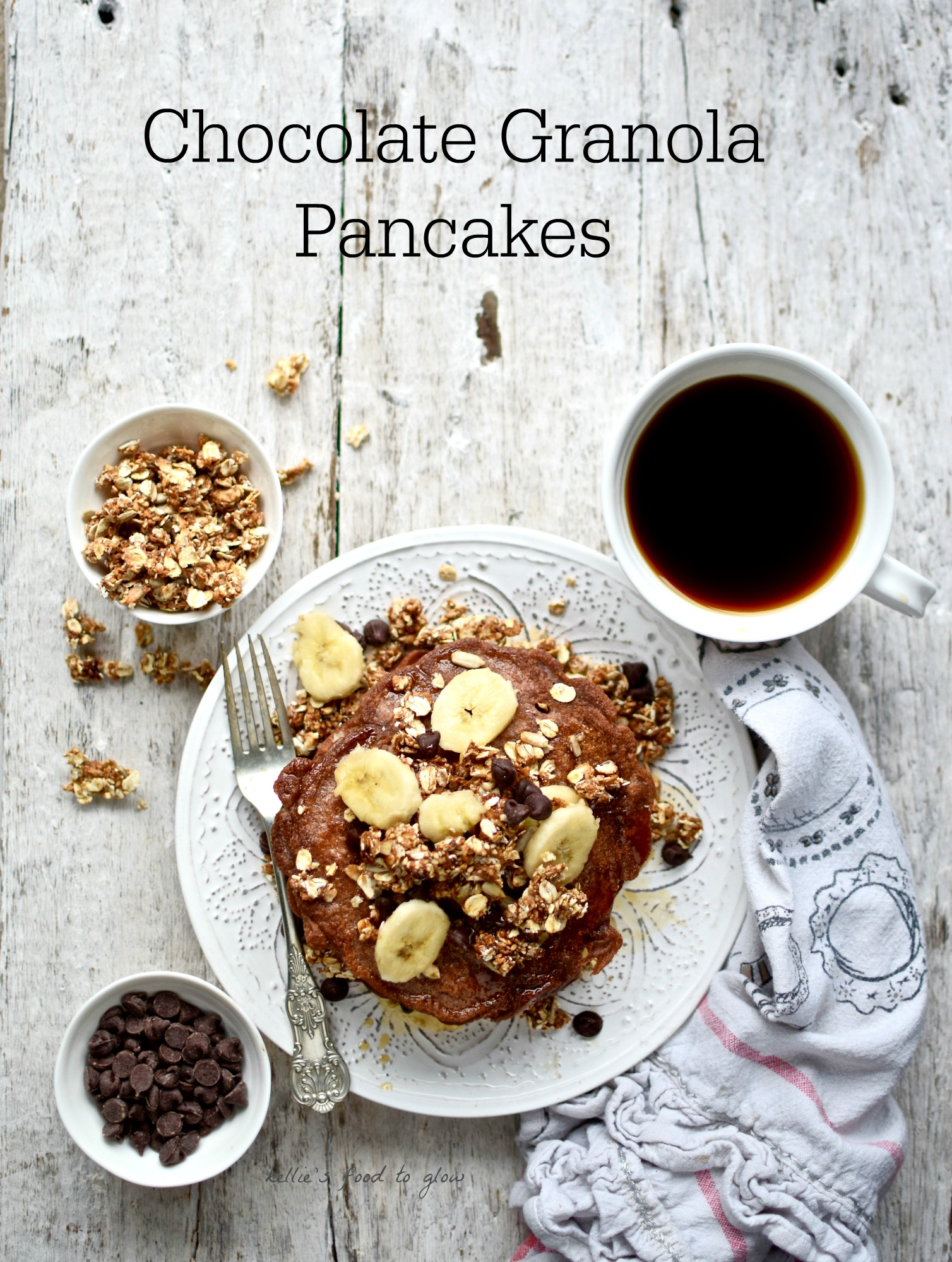 Easy, decadent and perfect for dessert, these Chocolate Granola Pancakes are a Pancake Day (Shrove Tuesday), or any day, treat. Easily adapted for gluten-free and dairy-free.