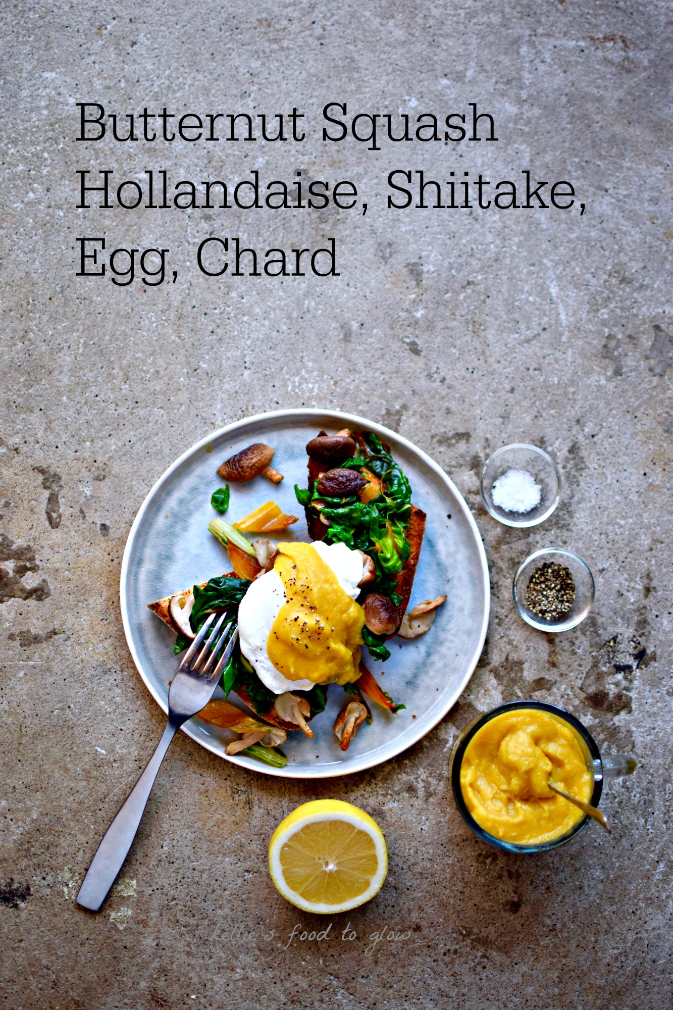 Whole Food eggs Benedict > Blend steamed butternut squash with a few key ingredients and you have a credible whole food hollandaise sauce for topping your eggs, veggies, pasta - and anything else that takes your fancy. Once made, this sauce will be your go-to for luxurious but nutritious breakfasts, and more.