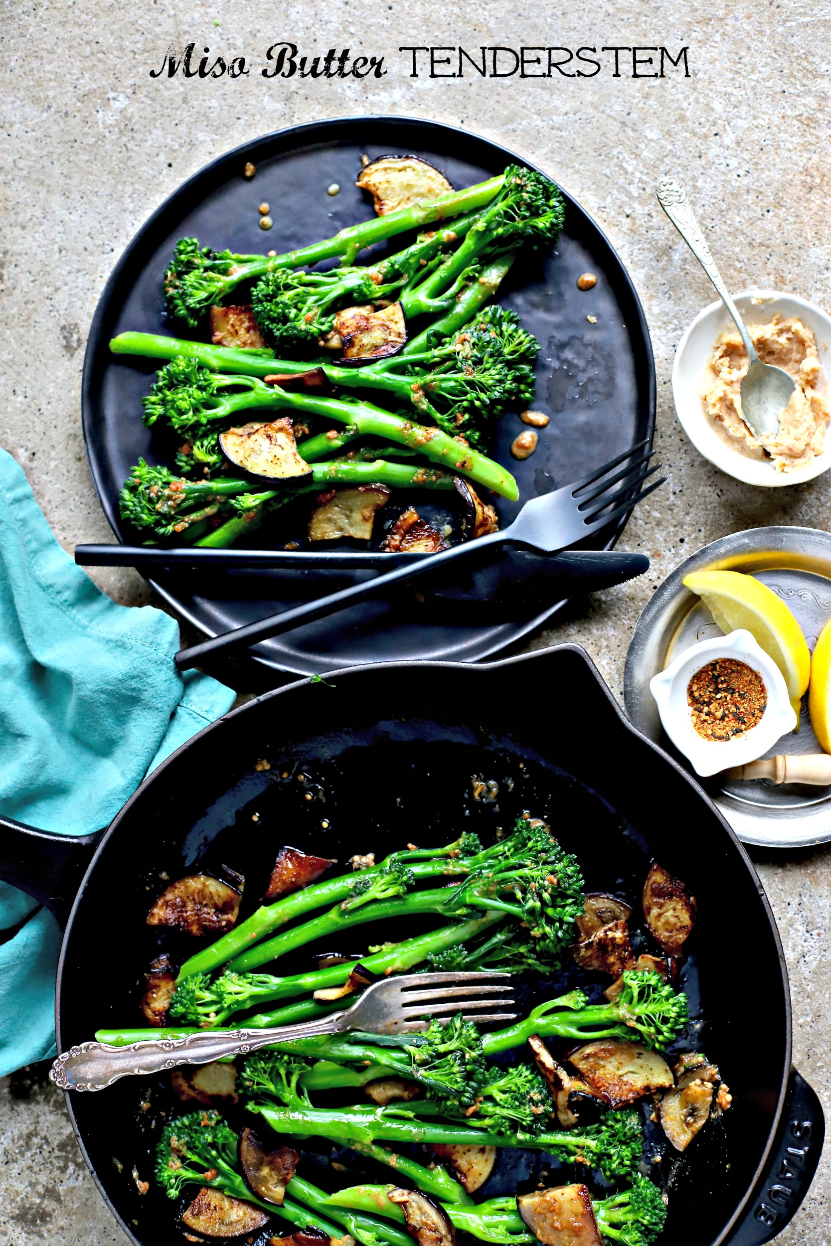 Miso Butter Tenderstem® with Pan-Fried Eggplant - food to glow