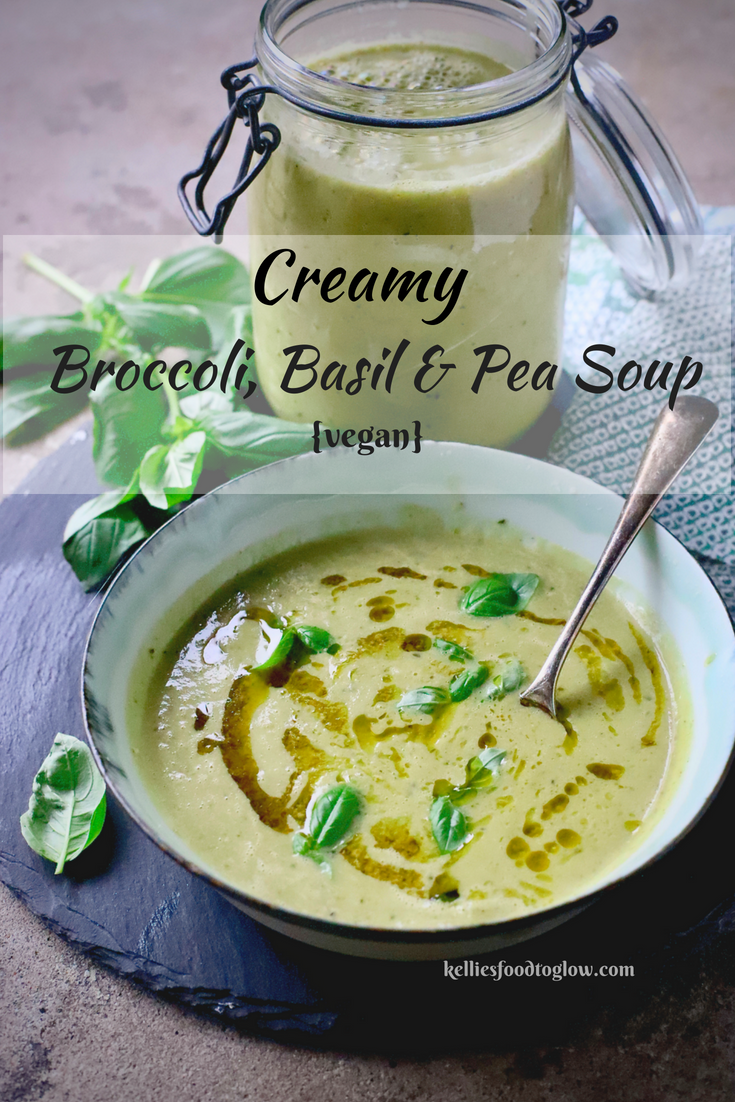 Naturally creamy-textured from the starchy goodness of peas, this blended Creamy #Vegan Broccoli, Basil and Pea Soup makes the most of the summer garden. But is also fabulous made with frozen. Endlessly adaptable, too.  #soup #healthyliving #recipe #broccoli