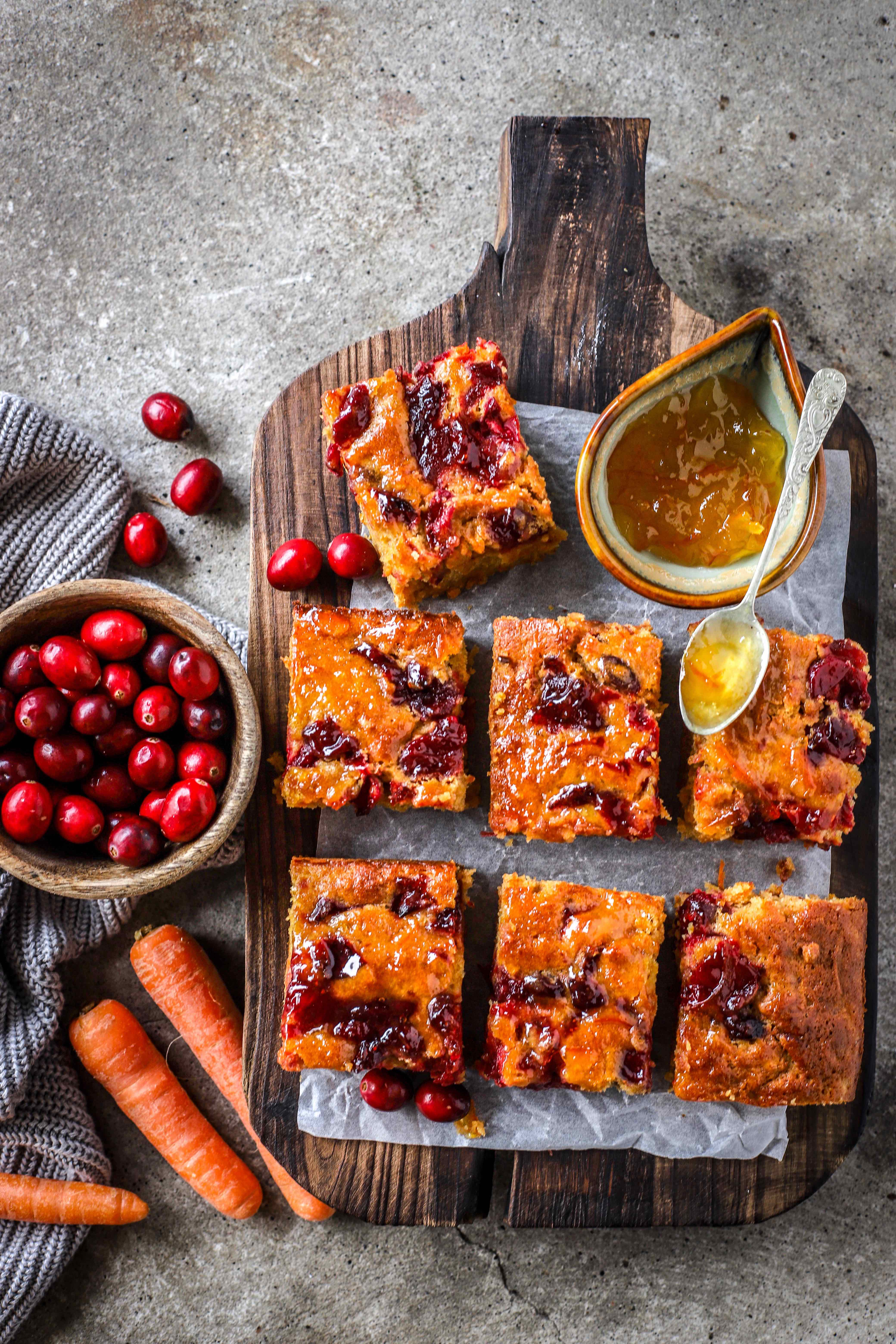 "Marmalade Carrot Cake with tangy swirls of bursting cranberries is the perfect ""just-in-case"" cake to have on standby during the festive season. #winter #cake #baking #marmalade #carrotcake #christmas"