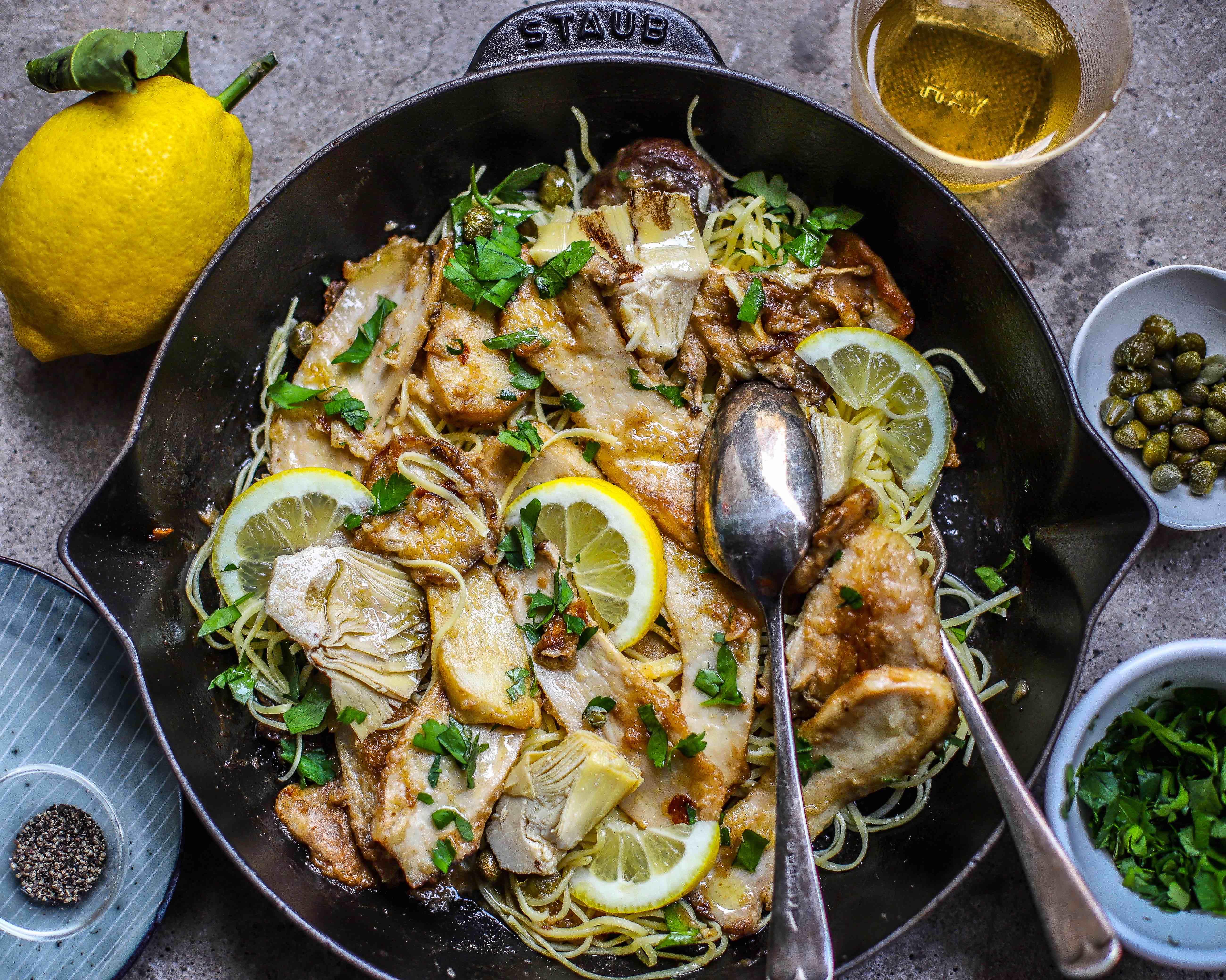 vegan mushroom piccata for dinner in cast iron skillet