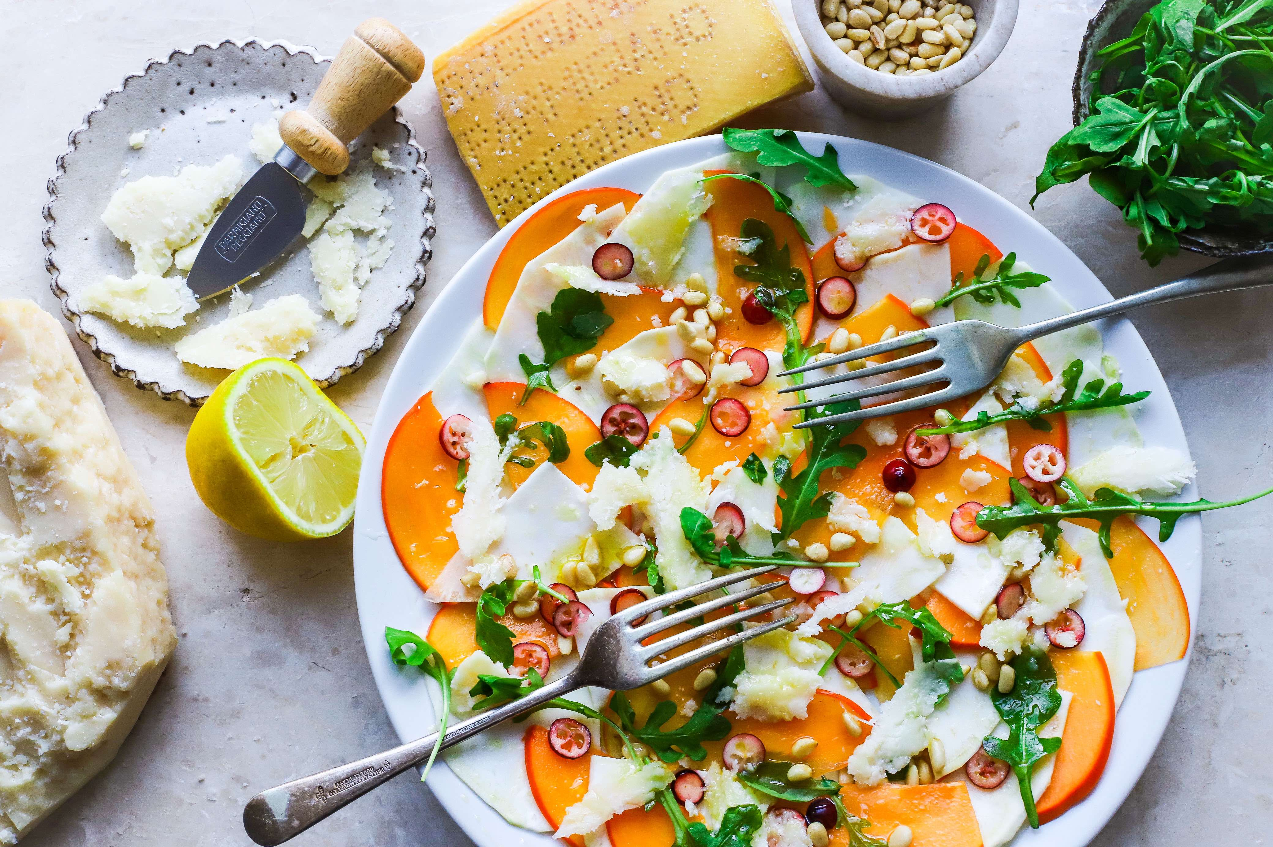 persimmon and celeriac salad with parmesan