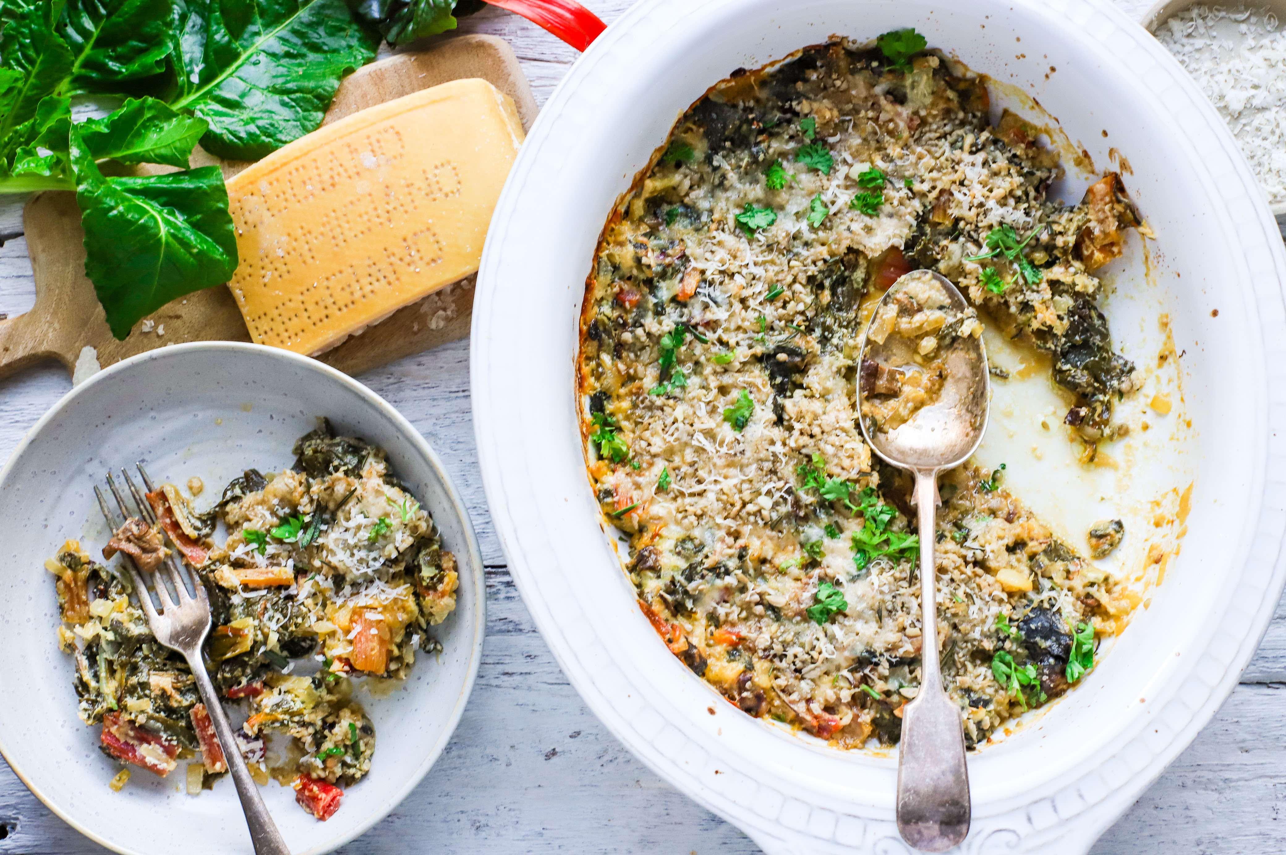 chard and porcini mushroom gratin